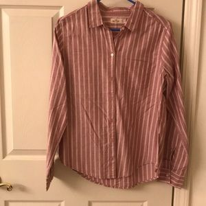 Hollister Maroon & White Striped Button-Up